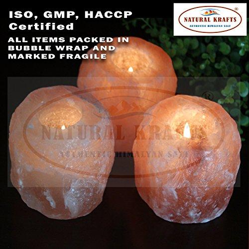 Natural krafts  supporto per candele di sale in cristallo di rocca dell'himalaya naturale con luce lenitiva | articolo regalo ideale | confezione da 4 pezzi es: