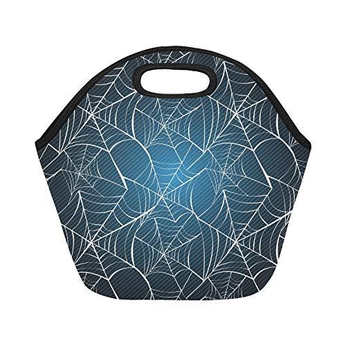 Isolierte Neopren-Lunch-Tasche Happy Halloween Spider Webs Große, wiederverwendbare, thermisch dicke Lunch-Tragetaschen für Brotdosen Für den Außenbereich, Arbeit, Büro, Schule