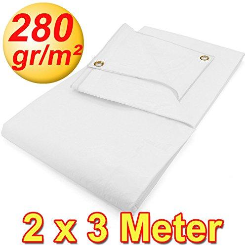 Preisvergleich Produktbild Gewebeplanen 2 x 3 m weiß 280g / m²,  2 x 3 m 6 m²