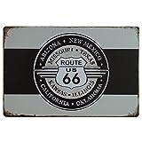Desconocido Schilder Vintage Metall Blech Deko: Route 66Weiß und Schwarz. 20x 30cm Platte Retro Metall.