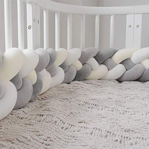 Culla Paraurti Treccia Cuscino Baby Head Guard Bumper Knot Cuscino treccia cuscino per lettino (Color : M-white+white+d-gray+gr, Size : 220CM)