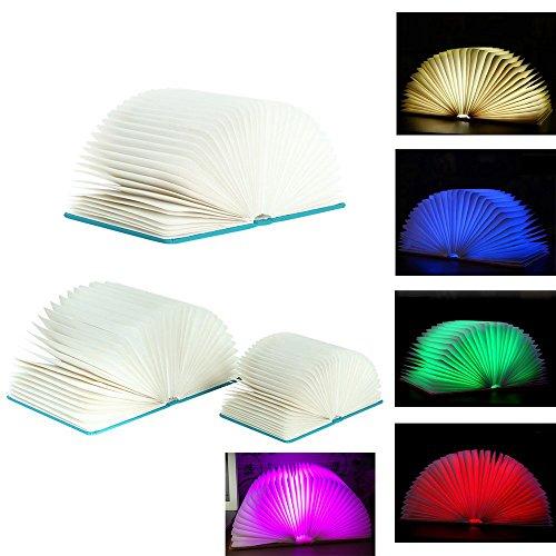 Preisvergleich Produktbild VIGORWORK Faltende LED-Buch-Licht-Nacht, YUANJ Buch-geformte faltende Nachttischlampe 5 Farben, die LED-Tabellen-Lampen-Buch, USB rechargeabl falten