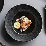 fuweizeng Servizio di Cena in Porcellana Classica Cappello di Paglia Nero Piatto di Zuppa di Ceramica Ad Alta Temperatura da 9 Pollici 2