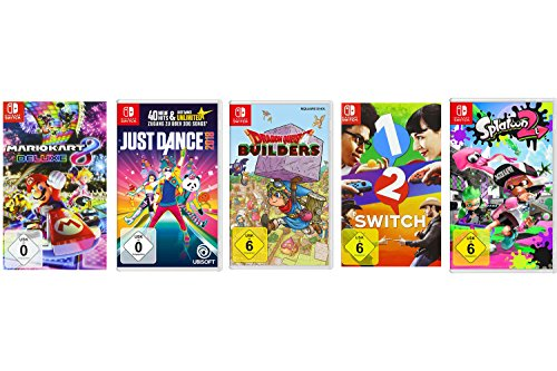 Mario Kart 8 Deluxe + Just Dance 2018 + Dragon Quest Builders + 1-2-Switch + Splatoon 2 [Nintendo Switch] (Wii U Super Mario Kart)