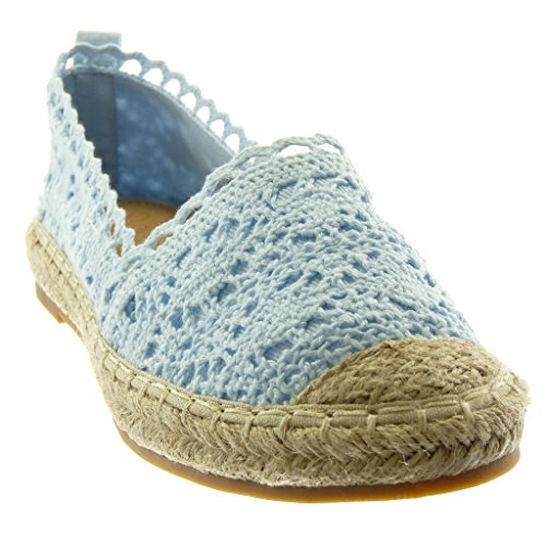 Angkorly Damen Schuhe Espadrilles - Slip-on - Spitze - Bestickt - Seil Blockabsatz 2 cm Blau