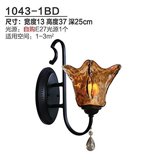 BESPD Kreative Continental Bügeleisen Cognac Crystal Mediterrane 1043-1 Bd Wandleuchten Wohnzimmer Korridore Gang Schlafzimmer Bett Lampen Wände sind dekoriert mit schwarzem Glas Abdeckung