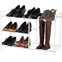 Harima - Baram Zapatero con 3 niveles, malla de metal revestido con polvo, color blanco, organizador con espacio alto para botas, botas de agua, estante para zapatos
