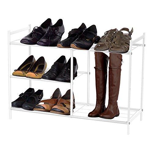 Kendan - Organizador de acero recubierto en polvo blanco de almacenamiento de pie de pie de 3-niveles resistente Bota Zapatero