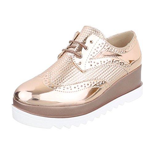 Ital-Design Schnürer Damen-Schuhe Oxford Schnürer Schnürsenkel Halbschuhe Rosa Gold, Gr 39, 62056-