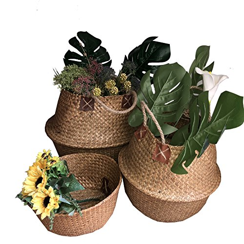 Goodchanceuk - Cesta de junco marino tejido, juego de 3 unidades, cesta con asa para maceta, jardín, contenedor de lavandería, hogar, amarillo