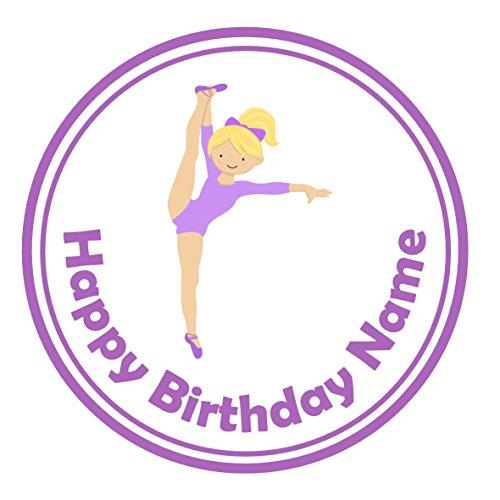 24Personalisierte Namen Kuchen Topper 4cm auf Zuckerguss–Violett Blond Gymnastik Tänzerin