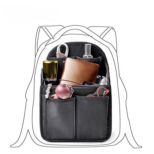 bag in bag Rucksack Schultasche Organisator Schulrucksack Einfügen Veranstalter Tasche Kosmetik Reise für Frauen (Schwarz Passt zu MCM S)