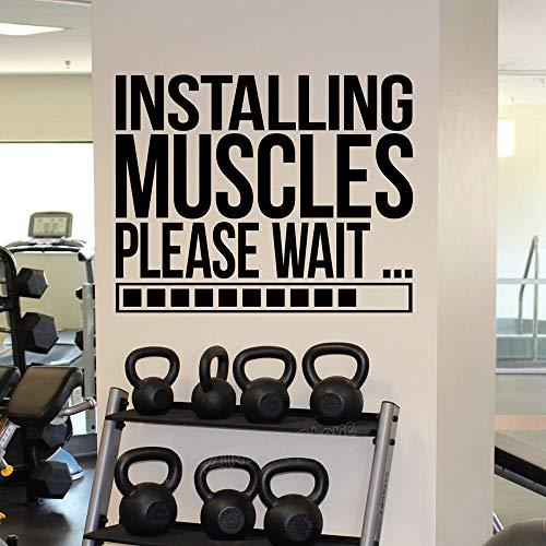 Installation von Muskeln laden Wand Aufkleber Poster Gym Motivation Zitate Wandaufkleber für Mann oder Jungen Zimmer Workout Decals Decor 52X42cm