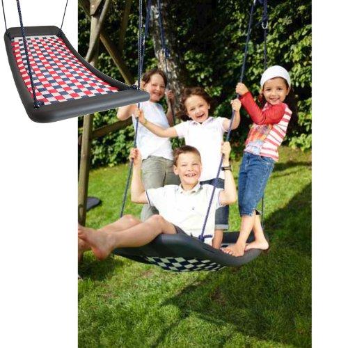 Preisvergleich Produktbild Große Mehrkindschaukel STANDARD Farbe wählbar für 4 Kinder, 136 x 66 cm (weiß/rot/blau)