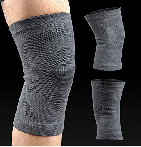 Sport-verletzungen Erholung (Leichtathletik Kniekompression Ärmel Unterstützung Laufen, Joggen, Sport, Gelenkschmerzen, Arthritis und Verletzungen Erholung Oberschenkelverpackung - EIN Paar Kniepolster (Color : Gray))