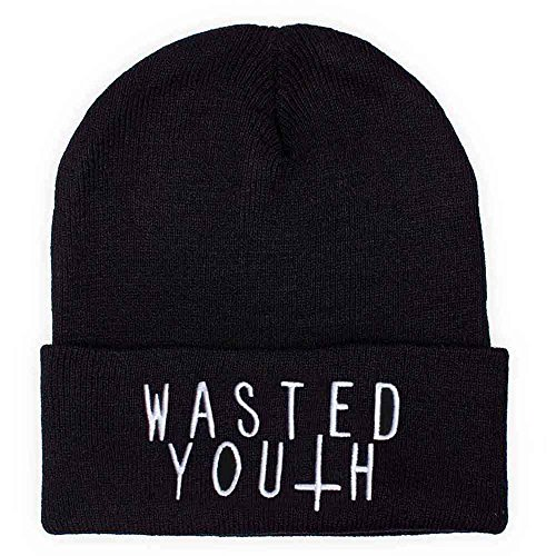 Distressed Statement Logo Long Beanie bestickt Mütze Strickmütze (wasted-youth) (Wasted Youth)