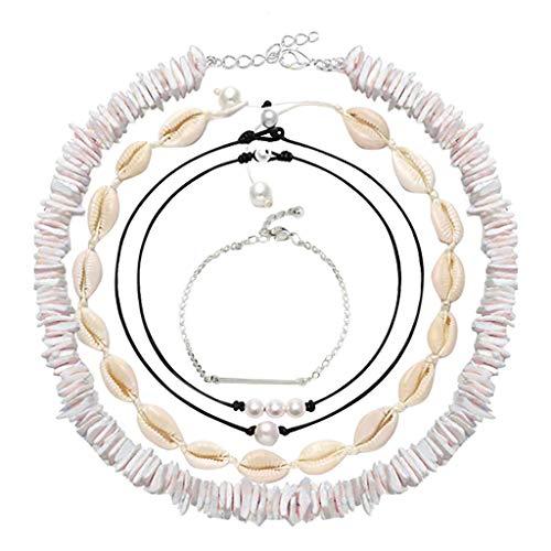 VICKY-HOHOArmband,Shell Pearl Choker Halskette für Frauen Hawaiian Seashell Pearls Choker Halskette Einstellbare Schnur Halskette Set (Farbton Unterwäsche Frauen)