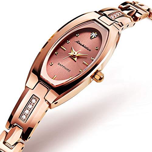 QYY Quarz-Armband-Uhr der Frauen, Uhr der Mode-Quarz-Frauen Wolframstahl-wasserdichte Armband-Frauen,A
