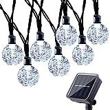 Qedertek Solar Lichterkette Außen mit 30 LED Kugel Weiß 6m 8 Modi Dekoration Beleuchtung für Garten, Terrasse, Hof, Haus, Party