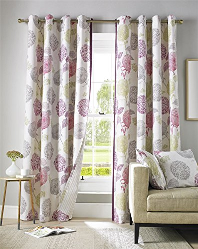 Pink, Green, Grey And Cream Floral Curtain Pair Contemporary Design Fully  Lined Eyelet Header, 229 X 183 Cm (90 X 72 Part 91
