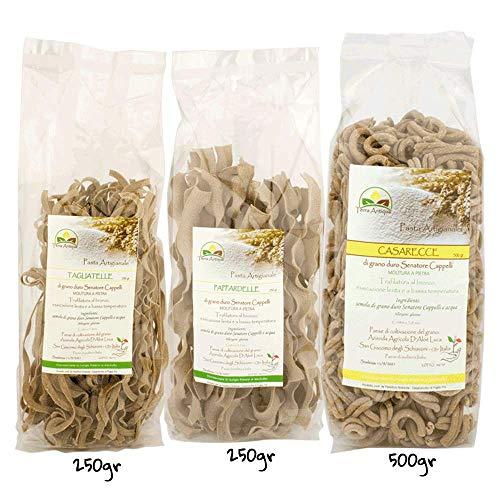 Tris Pasta, Tagliatelle 250 g, Pappardelle 250 g e Casarecce 500 g di grano duro Senatore Cappelli GTER010