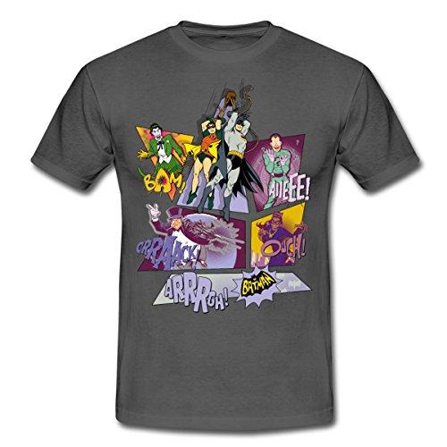 s Batman Robin Bösewichte Gruppenbild Männer T-Shirt, L, Graphite (Super Helden Robin)