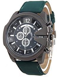 Reloj de pulsera - V6 Reloj de pulsera de cuero de imitacion de esfera para hombres(correa verde y caja negra)