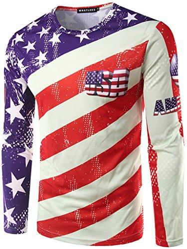 Whatlees Herren T-Shirt mit langen Ärmeln amerikanische Flagge Muster westlichen beliebten modisch schlank fühlen dünn lässig ultra-realistische Frühling und Herbst Westliche Sommer-shirts