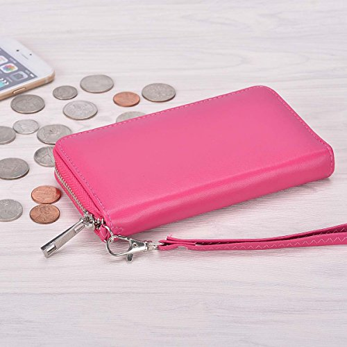 BANGBO Zippered PU Leather Clutch Wallet Handbag 5 Card Slots Phone Holder Portable Pouch for All 4.7-Inch phones, Black Rose