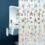 SYN Tenda da Doccia in Tessuto con Anelli e Ganci, Impermeabile, 180 x 200 cm, Motivo: Fiori di Sole, Come da Immagine, Starfish
