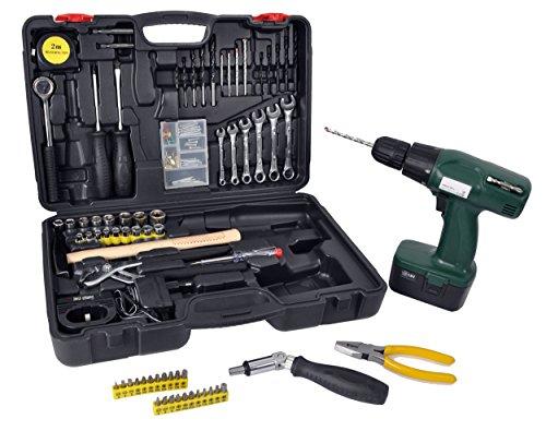 Werkzeugkoffer mit Akkubohrschrauber (Akkuschrauber/Akkubohrer) & Werkzeug bestückt