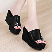 ASxinZ New High-Heeled Shoes With Fashion Ladies Thick-Soled Slopes Wearing Sandals And Slippers Women'S Shoes,39,black