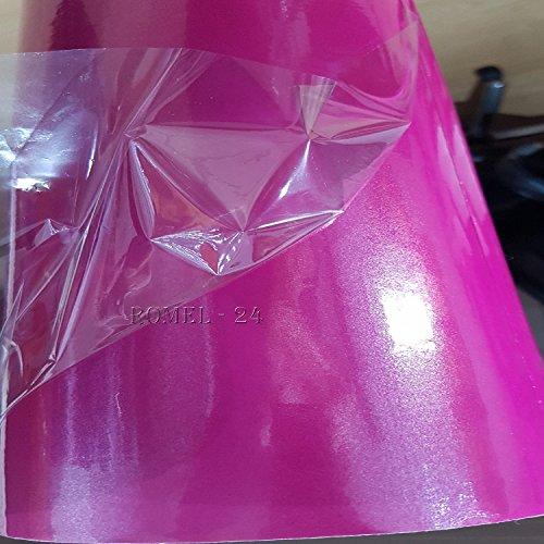Romel - 24 [21,00€/m²] Folie Selbstklebend Luftkanäle Perlmutt Pink + DEUTSCHE Anleitung (100cm x 150cm)