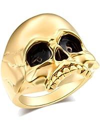 EVBEA Chevalière pour Homme avec Tête de Mort Aspect Gothique Très Grand  avec Boîte ... 83457425251c