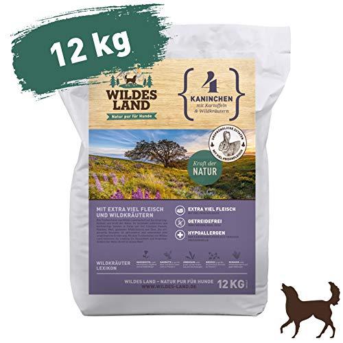 Wildes Land | Trockenfutter für Hunde | Nr. 4 Kaninchen | 12 kg | mit Kartoffeln und Wildkräutern | Glutenfrei & Hypoallergen | Extra viel Fleisch | Beste Akzeptanz und Verträglichkeit