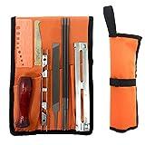 Mizoova - Affuteuse de tronçonneuse professionnel 10 pièce chaîne affûtage kit avec 5/32 3/16 7/32 Lime ronde, guide, lime plate, poignée, calibre et rangement