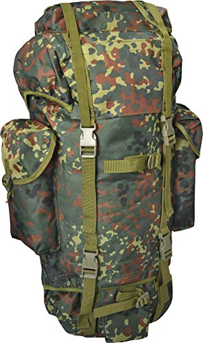 Rucksack, ideal zum Wandern, großes Fassungsvermögen 65 Liter, viele Taschen, Flecktarn Flecktarn