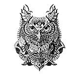 JUSTFOX - Temporäres Tattoo Eule Uhu Design Temporary Klebetattoo Körperkunst
