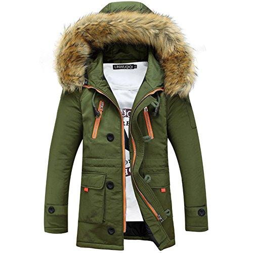 Newbestyle Winter Baumwolle Herren Wintermantel mit Pelzkragen Kapuzenjacke Outdoorjacke Winterjacke Warm Mantel Aemee Grün