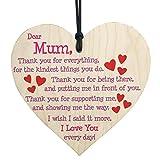 originaltree I Love Mom Herz zum Aufhängen Holz Form Buchstabe Schild Home Decor für Mutter 's Day, holz, holz, Mini