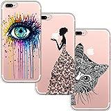 blossom01 [3-Pièces] Coque iPhone 7 Plus, Coque iPhone 8 Plus, Ultra Mince Cute Motif Premium TPU Souple Etui de Protection pour iPhone 7 Plus / 8 Plus - Eye & Butterfly Fille et Chat