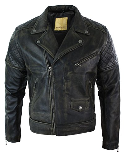 Blouson Homme Cuir véritable Fermeture Zip Diagonale Noir Marron Style Vieilli Vintage rétro Biker