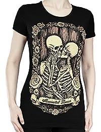 Restyle Immortal Lovers –Camiseta, diseño de calaveras, color negro