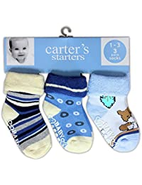 Baby Station 3/Pairs- Carters Multi Color kids Baby Cotton Anti Skid Socks 12-18Months