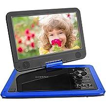 """COOAU 12.5"""" Reproductor de DVD Portátil, con 10.5"""" HD Pantalla Giratoria, 5 Horas Batería Recargable, Soporta SD /USB /CD /DVD /VCD, Sincronizar a TV, con Cargador del Coche y Joystick de Juego, Azul"""
