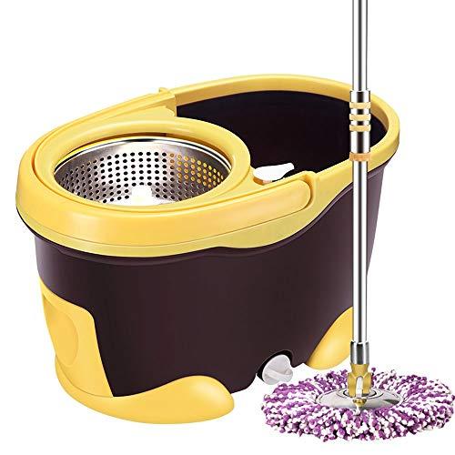 V-OPQ 360 degrés Spinning Mop, Super Spin Mops 360 degrés Spinning Seau Nettoyage domestique, pédale Spin Mop Microfibre avec 2 pièces Microfibre Mop Heads seau en acier inoxydable et manche télescopi