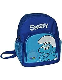 Preisvergleich für Unbekannt großer Rucksack - die Schlümpfe für Kinder - mit 4 Fächern Kinderrucksack / mit Trinkflaschenhalterung...