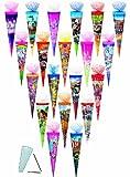 Unbekannt 1 Stück: Schultüte - verschiedene Motive - 35 cm - mit / ohne Kunststoff Spitze - mit Tüllabschluß - Zuckertüte - für Mädchen Jungen Geschwistertüte bunte Tie..