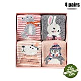 Morbuy Kinder Baumwolle Socken, Tiermuster Baby Winter Weihnachten Söckchen Weiche Dicke Damen Baumwollsocken Warme Wintersocken 4 Paar 1er Box (M(3-5 Jahre), Pinguin)