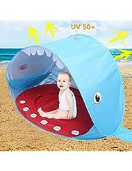 Sweeho Tienda Playa Bebés, Anti Solar UV 50+ Tienda Infantil Pop-up Parasol de Campaña con Piscina para Niños Carpa Plegable Portátil de Bebe Ligero Estilo Ballena Azul para Vacación Playa BP158